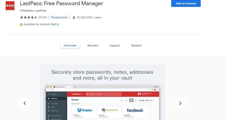 LastPass Password Manager Chrome extension